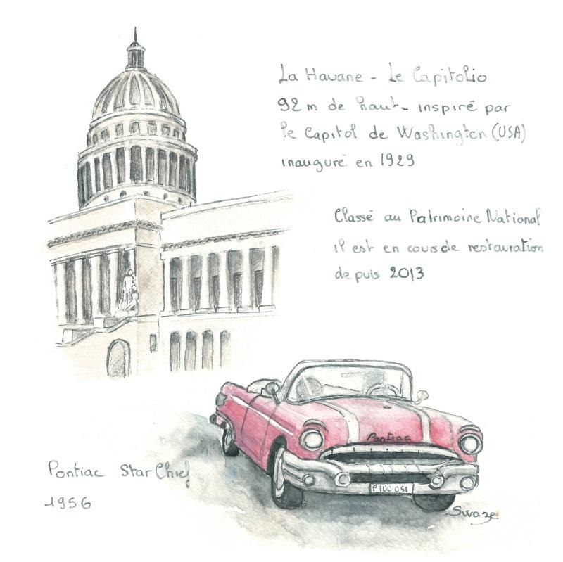 Cuba, El capitolio et une pontiac