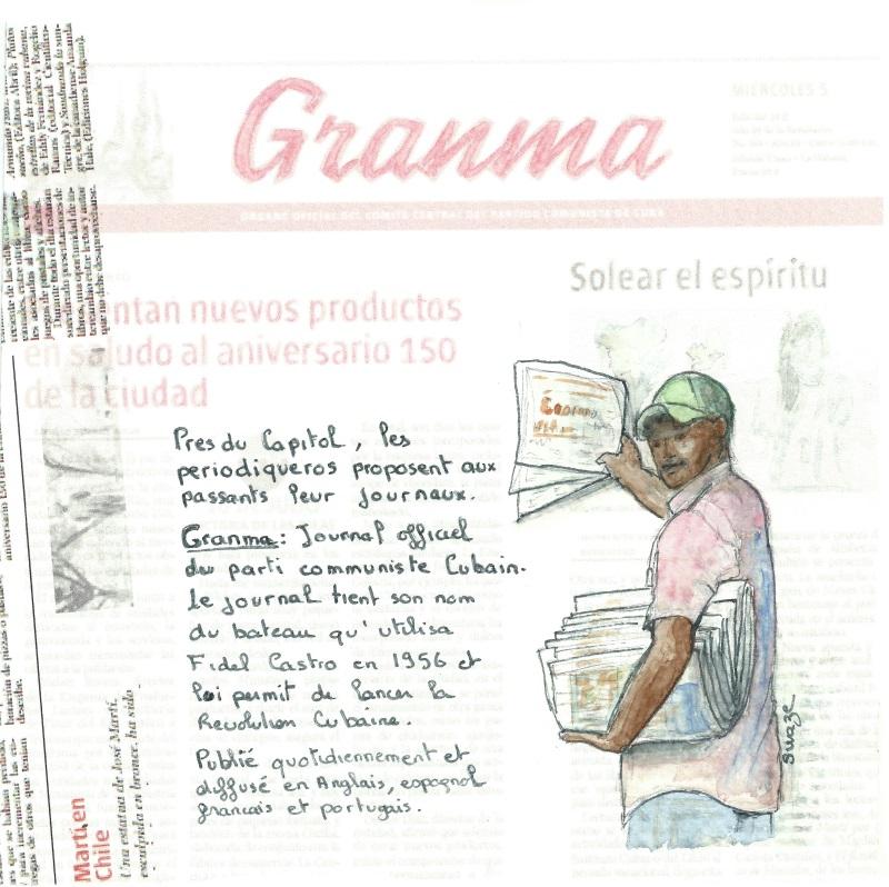 cuba - le vendeur du journal Granma