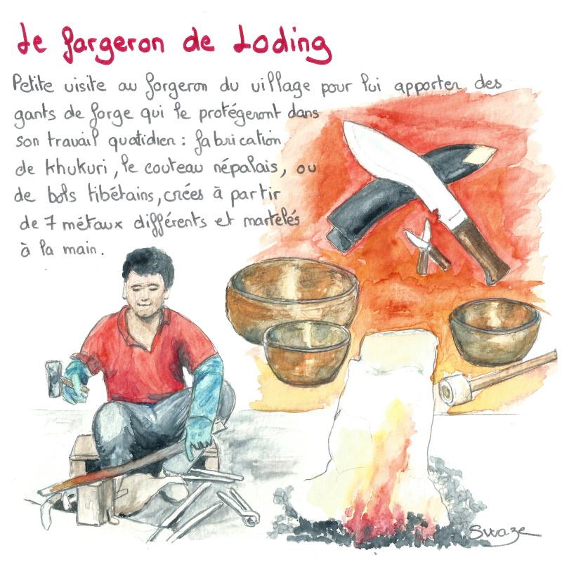 le forgeron fabriquant bol tibétain et couteau khukri