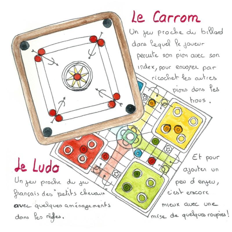 Le ludo, et le carrom, deux jeux de société populaire au Népal