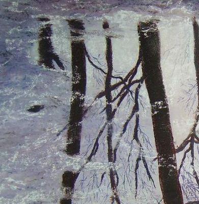 Pastel représentation d'arbres dans une flaque d'eau gelé