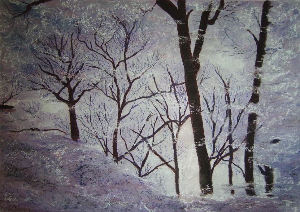 Pastel - représentation d'une forêt se reflétant dans un flaque d'eau gelée