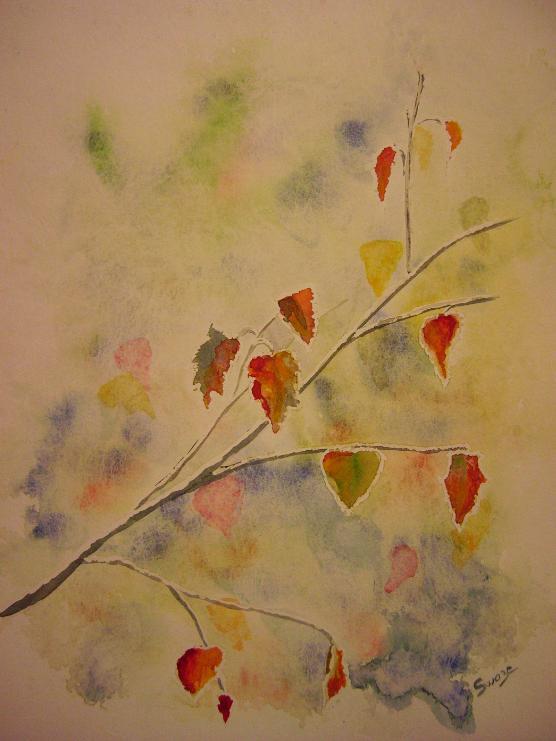 Aquarelle feuilles aux bords couvert de givre