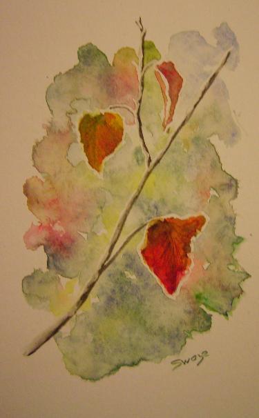 Aquarelle zoom sur des feuilles d'automne aux bords givrés